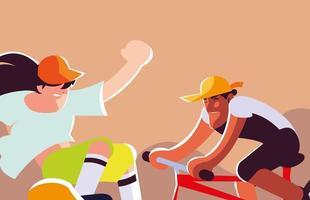 homens em atividades esportivas, cartas vetor