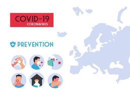infográficos métodos de prevenção de infecções por coronavírus vetor