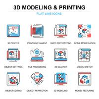 Conjunto de ícones de impressão e modelagem 3D vetor