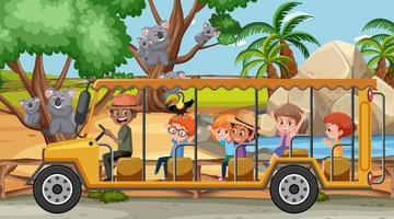cena de safári durante o dia com crianças turistas assistindo a um grupo de coalas vetor