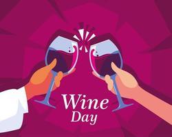 mãos segurando uma taça de vinho, rotular o dia do vinho vetor