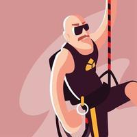 homem alpinista com equipamento de escalada vetor