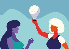 empresárias com lâmpada, pessoas e ideias vetor