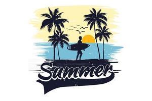 t-shirt verão praia surf férias estilo vintage retro vetor