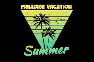 t-shirt paraíso férias verão pôr do sol palm retro estilo vintage vetor