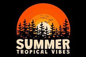 t-shirt verão vibrações tropicais pôr do sol sol retro estilo vintage vetor