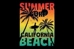 t-shirt verão surf califórnia praia palm retro estilo vintage vetor
