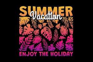 t-shirt férias de verão aproveite feriado folha gradiente pôr do sol retro estilo vintage vetor