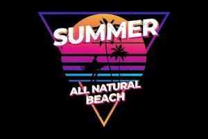 t-shirt de verão totalmente natural praia estilo gradiente vetor