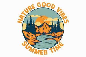 t-shirt natureza boas vibrações verão horário montanha lago desenhado à mão estilo retro vintage vetor