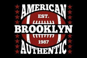t-shirt tipografia futebol americano brooklyn autêntico vetor