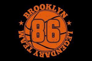 camiseta tipografia brooklyn lendária equipe de basquete vintage vetor