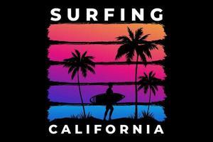 t-shirt surf california praia pôr do sol retro estilo vetor