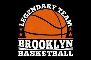 t-shirt tipografia brooklyn basquete time lendário estilo vintage vetor