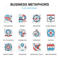 Conjunto de ícones de processo de negócios vetor