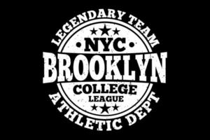 t-shirt tipografia departamento atlético de brooklyn time lendário vetor