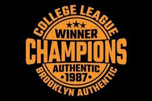 t-shirt tipografia campeões da liga universitária estilo vintage vetor