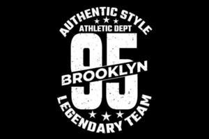 t-shirt tipografia estilo autêntico estilo vintage lendário do brooklyn vetor