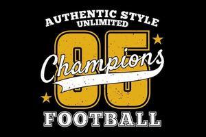 t-shirt tipografia estilo autêntico futebol campeões vetor