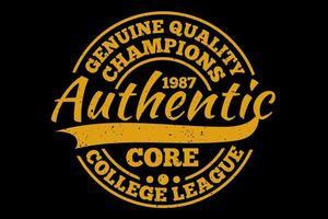 t-shirt tipografia autêntica campeões core college league estilo vintage vetor