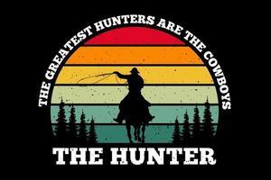 t-shirt silhueta caçador caçador estilo retro vetor