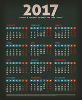 2017 calendário de design em fundo preto