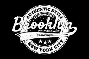 t-shirt tipografia brooklyn estilo autêntico estilo vintage vetor