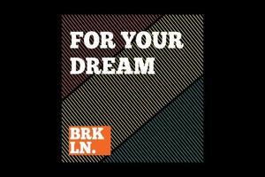 t-shirt tipografia vintage estilo brooklyn vetor