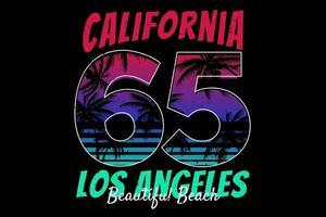 t-shirt california los angeles beautiful beach design vetor