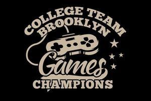 t-shirt jogos console campeões brooklyn tipografia retro estilo vintage vetor