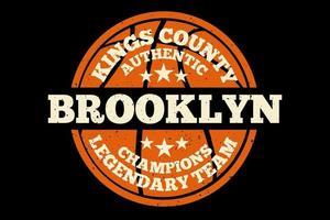 t-shirt tipografia brooklyn campeões de futebol autêntico estilo vintage vetor