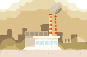 nuvens de fumaça industriais, poluição ambiental industrial vetor