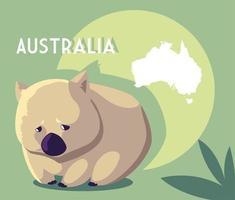 wombat com mapa da austrália ao fundo vetor