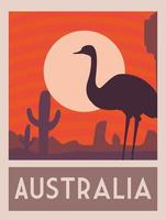 pôster com uma avestruz da Austrália, selo postal, adesivo, banner vetor