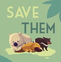 salve-os etiqueta com animais selvagens da austrália vetor