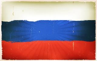 Vindima, russo, bandeira, cartaz, fundo vetor