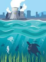 nuvens de fumaça industrial no paisagismo da cidade, poluição ambiental do reator nuclear vetor