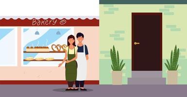 casal com avental na fachada da padaria de rua vetor