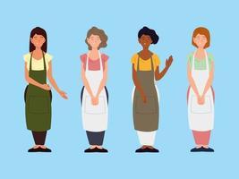 grupo de personagens de avental feminino em fundo azul vetor