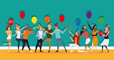 homens e mulheres divertem-se em festa com balões e confetes vetor