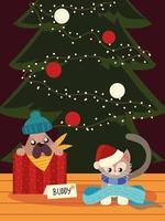 Natal cão e gato fofos com cachecol e animais de árvore vetor