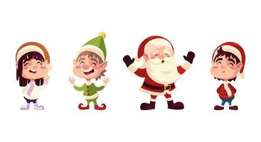 personagens natalinos ajudante de papai noel menino e menina com chapéus vetor