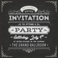 Cartão de convite de festa vintage na lousa vetor