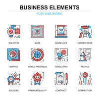 Conjunto de ícones de elementos de negócios vetor