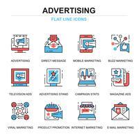 Conjunto de ícones de publicidade vetor