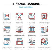 Conjunto de ícones de bancos e finanças vetor