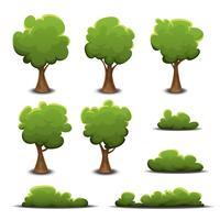 Conjunto de árvores florestais, arbusto e sebes vetor