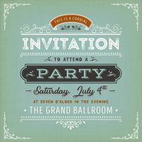 Convite vintage para um cartão de festa vetor