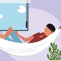cara descansando na rede ao lado da janela do quarto vetor