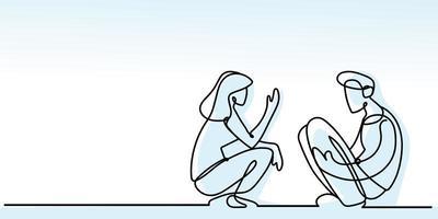vista lateral menino e menina enrolados, linha contínua estilo azul vetor